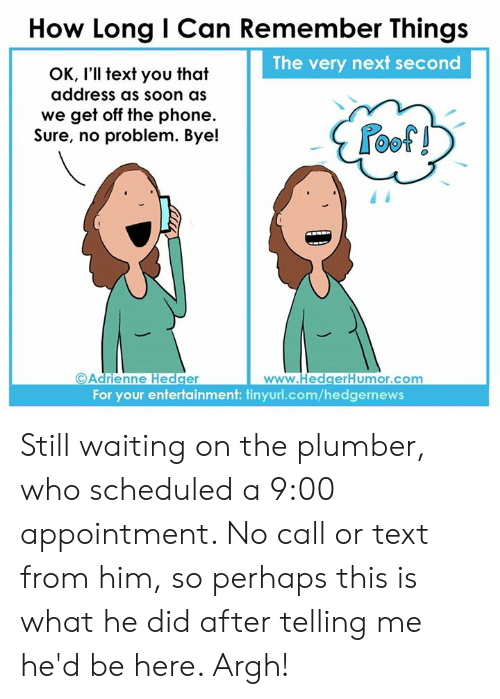 Memes, Phone, and Soon...: How Long I Can Remember Things  The very next second  OK, I'll text you that  address as soon as  we get off the phone.  Sure, no problem. Bye!  oof!  Adrienne Hedger  For your entertainment: tinyurl.com/hedgernews Still waiting on the plumber, who scheduled a 9:00 appointment. No call or text from him, so perhaps this is what he did after telling me he'd be here. Argh!