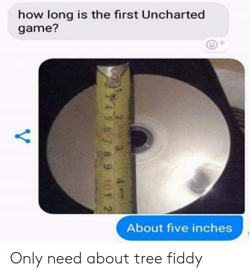 Game, Tree, and How: how long is the first Uncharted  game?  About five inches Only need about tree fiddy