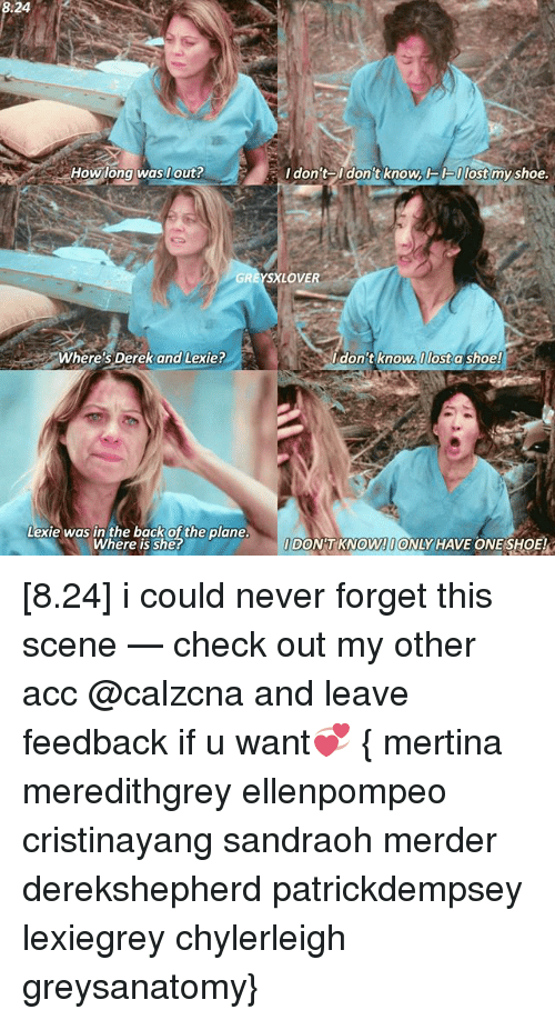 Memes, Lost, and Never: How long was out?  Where's  Derek and Lexie?  Lexie was in the back of the plane.  Where is she?  I don't On  knowACK Ulost  my shoe.  XLOVE  don't know.I lost a shoe!  DONT KNOW!OONLY HAVE ONE SHOE! [8.24] i could never forget this scene — check out my other acc @calzcna and leave feedback if u want💞 { mertina meredithgrey ellenpompeo cristinayang sandraoh merder derekshepherd patrickdempsey lexiegrey chylerleigh greysanatomy}