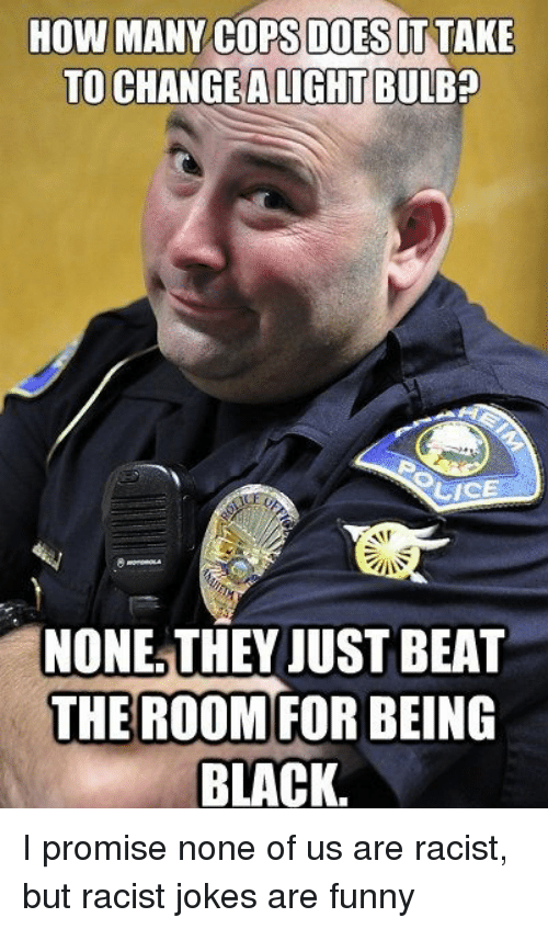 Memes, Lice, and Racist: HOW MANY COPS DOES IT TAKE  TO CHANGE ALIGHTBULBp  LICE  NONE THEY JUST BEAT  THE ROOM FOR BEING  BLACK. I promise none of us are racist, but racist jokes are funny