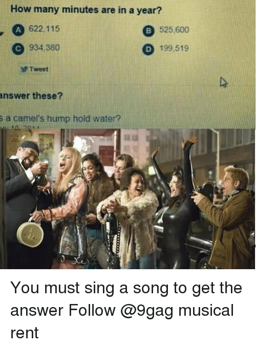 9gag, Memes, and Water: How many minutes are in a year?  , A 622.115  525,600  C 934 380  D 199,519  f Tweet  answer these?  s a camers hump hold water? You must sing a song to get the answer Follow @9gag musical rent