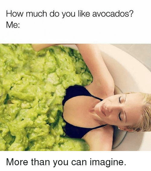Gym, How, and Can: How much do you like avocados?  Me: More than you can imagine.