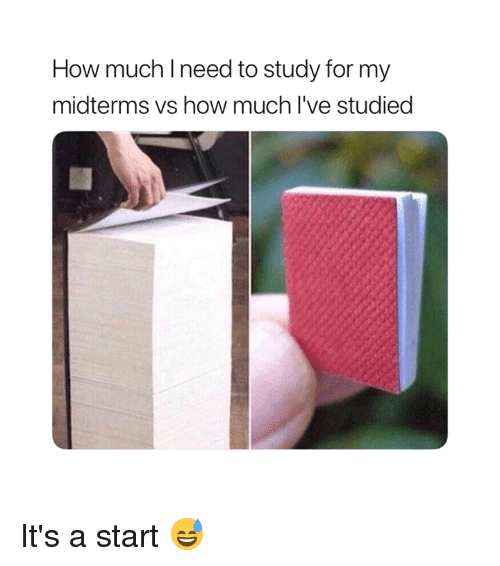 How, For, and Study: How much Ineed to study for my  midterms vs how much l've studied It's a start 😅