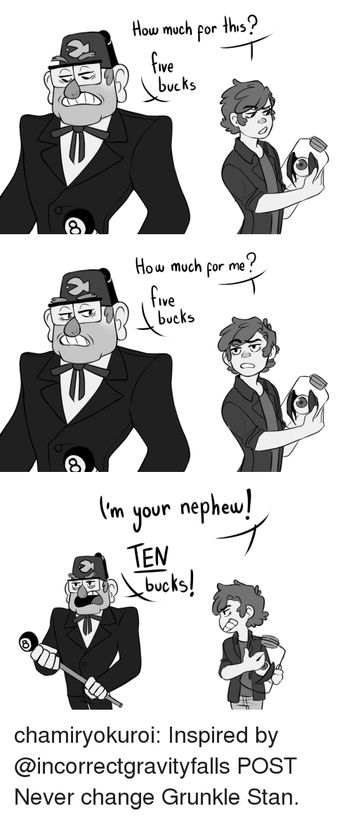 Stan, Target, and Tumblr: How much por ths  Ive  bucks   How much por me?  fve  bucks   m your nephew  TEM chamiryokuroi: Inspired by @incorrectgravityfalls POST Never change Grunkle Stan.