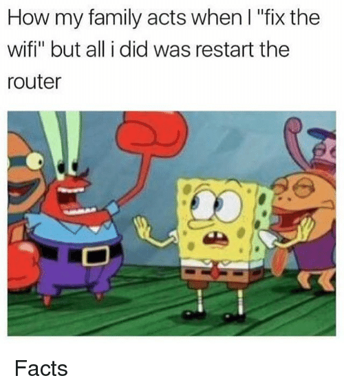 "Facts, Family, and Memes: How my family acts when l ""fix the  wifi"" but all i did was restart the  router Facts"