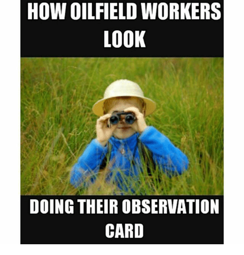 Oil and Gas, How, and Looking: HOW OILFIELD WORKERS  LOOK  DOING THEIROBSERVATION  CARD