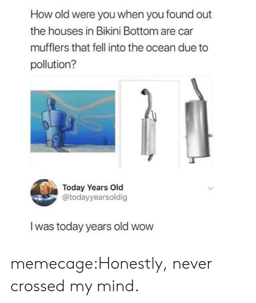 Memes, Reddit, and Tumblr: How old were you when you found out  the houses in Bikini Bottom are car  mufflers that fell into the ocean due to  pollution?  0  Today Years Old  @todayyearsoldig  I was today years old wow memecage:Honestly, never crossed my mind.