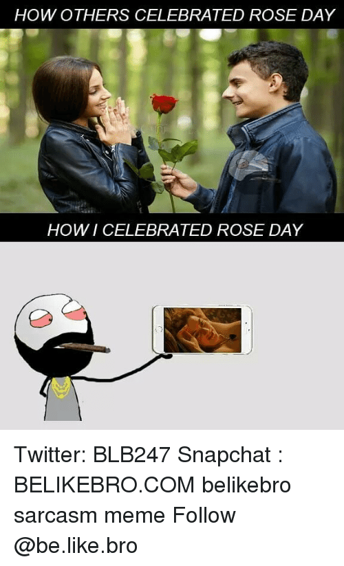 Be Like, Meme, and Memes: HOW OTHERS CELEBRATED ROSE DAY  er  HOWI CELEBRATED ROSE DAY Twitter: BLB247 Snapchat : BELIKEBRO.COM belikebro sarcasm meme Follow @be.like.bro