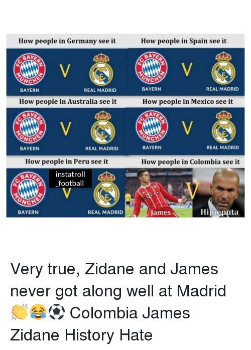 Memes, Real Madrid, and True: How people in Germany see it  How people in Spain see it  BAY  BAY  BAYERN  REAL MADRID  BAYERN  REAL MADRID  How people in Australia see it  How people in Mexico see it  BAY  NCH  BAYERN  BAYERN  REAL MADRID  REAL MADRID  How people in Peru see it  How people in Colombia see it  instatroll  2football  BAYERN  REAL MADRID  James  Hijmeputa Very true, Zidane and James never got along well at Madrid 👏😂⚽️ Colombia James Zidane History Hate