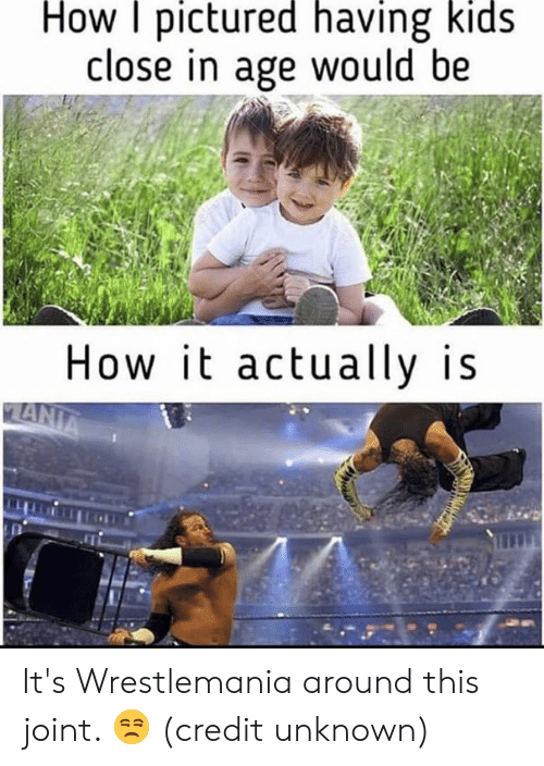Dank, Wrestlemania, and Kids: How pictured having kids  close in age would be  How it actually is It's Wrestlemania around this joint. 😒  (credit unknown)