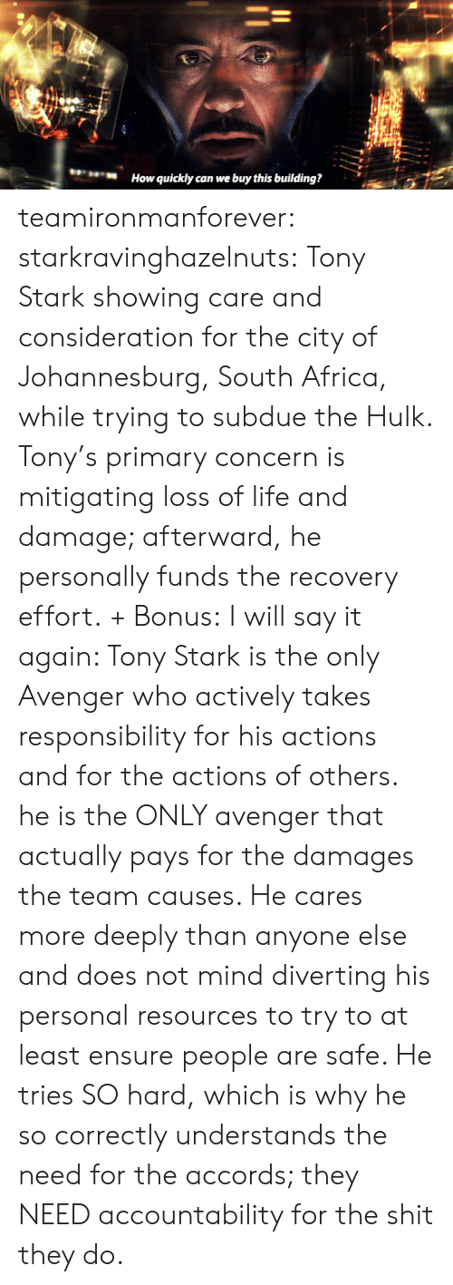 Africa, Gif, and Life: How quickly can we buy this building? teamironmanforever: starkravinghazelnuts:  Tony Stark showing care and consideration for the city of Johannesburg, South Africa, while trying to subdue the Hulk. Tony's primary concern is mitigating loss of life and damage; afterward, he personally funds the recovery effort. + Bonus:  I will say it again: Tony Stark is the only Avenger who actively takes responsibility for his actions and for the actions of others. he is the ONLY avenger that actually pays for the damages the team causes. He cares more deeply than anyone else and does not mind diverting his personal resources to try to at least ensure people are safe. He tries SO hard, which is why he so correctly understands the need for the accords; they NEED accountability for the shit they do.