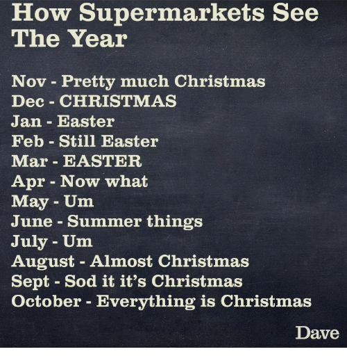 Christmas In August Meme.How Supermarkets See The Year Nov Pretty Much Christmas Dec