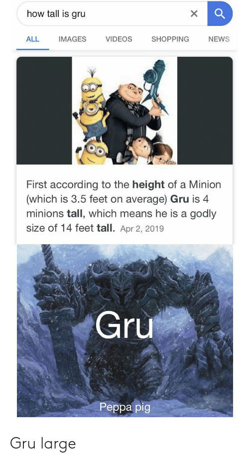 News, Shopping, and Videos: how tall is gru  X  VIDEOS  ALL  SHOPPING  NEWS  IMAGES  First according to the height of a Minion  (which is 3.5 feet on average) Gru is 4  minions tall, which means he is a godly  size of 14 feet tall. Apr 2, 2019  Gru  Реpра pig Gru large