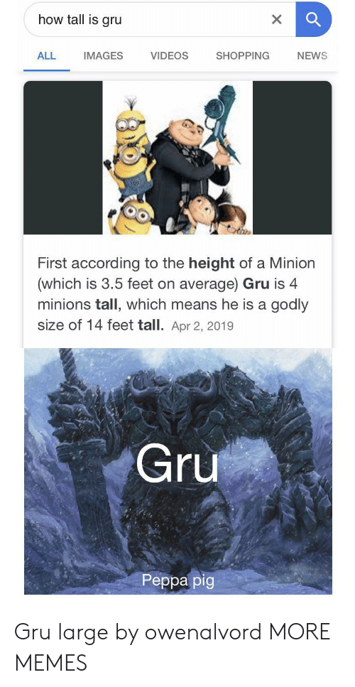 Dank, Memes, and News: how tall is gru  X  VIDEOS  ALL  SHOPPING  NEWS  IMAGES  First according to the height of a Minion  (which is 3.5 feet on average) Gru is 4  minions tall, which means he is a godly  size of 14 feet tall. Apr 2, 2019  Gru  Реpра pig Gru large by owenalvord MORE MEMES
