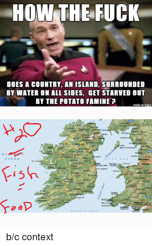 Fuck, Imgur, and Potato: HOW THE FUCK  DOES A COUNTRY, AN ISLAND, SURROUNDED  BY WATER ON ALL SIDES, GET STARVED OUT  BY THE POTATO FAMINE P  made on imgur  874M  Balymöpey  onderamena stranra  Workington  KLNGDOei  Bef  AN  Preston5  A T  ogheds  O C  E A N  The T  Eale Atha Cliath  Trent  ngervan  Miford Ha  Pembroke  Bristol  Cet  S e a