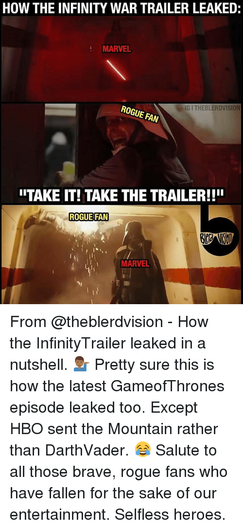 Hbo, Memes, and Brave: HOW THE INFINITY WAR TRAILER LEAKED:  MARVEL  G I THEBLERDVISION  ROGUE FAN  ITAKE IT! TAKE THE TRAILER!!!  ROGUE FAN  MARVEL From @theblerdvision - How the InfinityTrailer leaked in a nutshell. 💁🏾‍♂️ Pretty sure this is how the latest GameofThrones episode leaked too. Except HBO sent the Mountain rather than DarthVader. 😂 Salute to all those brave, rogue fans who have fallen for the sake of our entertainment. Selfless heroes.