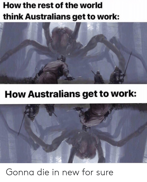 Work, World, and Dank Memes: How the rest of the world  think Australians get to work:  How Australians get to work: Gonna die in new for sure
