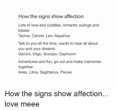 How the Signs Show Affection Lots of Love and Cuddles