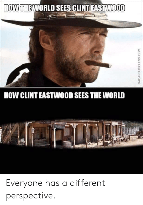 World, Clint Eastwood, and How: HOW THE WORLD SEES CLINT EASTWOOD  HOW CLINT EASTWOOD SEES THE WORLD  ROONG  SADANDUSELESS.COM Everyone has a different perspective.