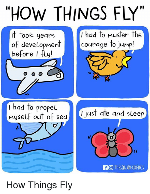 "Memes, Courage, and 🤖: ""HOW THINGS FLY""  it took years  I had to Muster the  of development  courage to jump  before I fly!  O O O  had to propel  myself out of sea  I just ate and sLee  O THESQUARECOMICS How Things Fly"