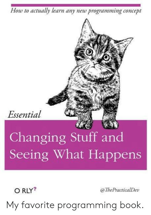 Book, How To, and Stuff: How to actualy learn any new programming concept  Essential  Changing Stuff and  Seeing What Happens  O RLY?  @ThePractialDev My favorite programming book.