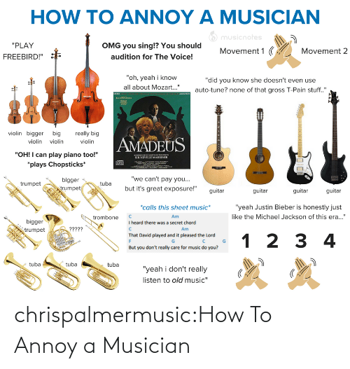 """Justin Bieber, Michael Jackson, and Music: HOW TO ANNOY A MUSICIAN  O musicnotes  """"PLAY  OMG you sing!? You should  Movement 1 (  Movement 2  audition for The Voice!  FREEBIRD!""""  """"oh, yeah i know  """"did you know she doesn't even use  all about Mozart..""""  auto-tune? none of that gross T-Pain stuff.""""  AMADEUS  MORE  violin bigger big  really big  AMADEUS  violin violin  violin  """"OH! I can play piano too!""""  ACADO O SE MARTINNTHELOS  SIR NEVILLE MARRINER  *plays Chopsticks*  """"we can't pay you...  bigger  egn  but it's great exposure!""""  trumpet  trumpet  guitar  guitar  guitar  guitar  *calls this sheet music*  """"yeah Justin Bieber is honestly just  like the Michael Jackson of this era...""""  Am  trombone  bigger  I heard there was a secret chord  ?????  Am  trumpet  That David played and it pleased the Lord  1 2 3 4  But you don't really care for music do you?  tuba  tuba  tuba  """"yeah i don't really  listen to old music"""" chrispalmermusic:How To Annoy a Musician"""