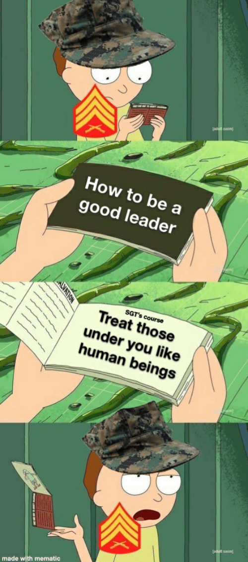 Good, How To, and How: How to be a  good leader  SGT's course  Treat those  under you like  human beings  made with mematic