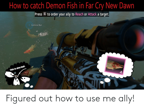 How To Catch Demon Fish In Far Cry New Dawn Press G To Order Your Ally To Reach Or Attack A Target Carmina Rye This Is Also Bait Figured Out How To