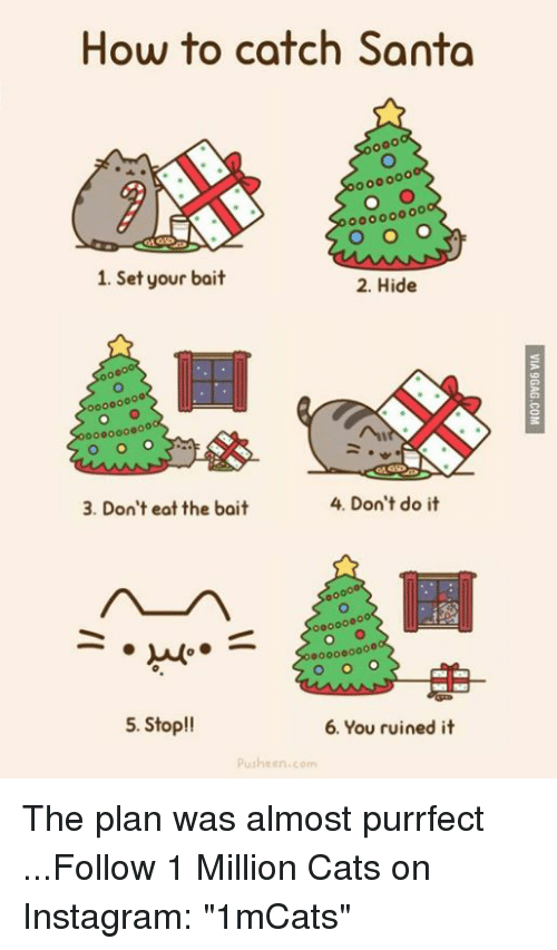 """Memes, 🤖, and Pusheen: How to catch Santa  1. Set your bait  2. Hide  00000000  4. Don't do it  3. Don't eat the bait  0000000  5. Stop!!  6. You ruined it  pusheen com The plan was almost purrfect    ...Follow 1 Million Cats on Instagram: """"1mCats"""""""