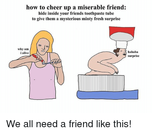 Alive, Fresh, and Friends: how to cheer up a miserable friend:  hide inside your friends toothpaste tube  to give them a mysterious minty fresh surprise  why am  i alive  o hahaha  surprise We all need a friend like this!
