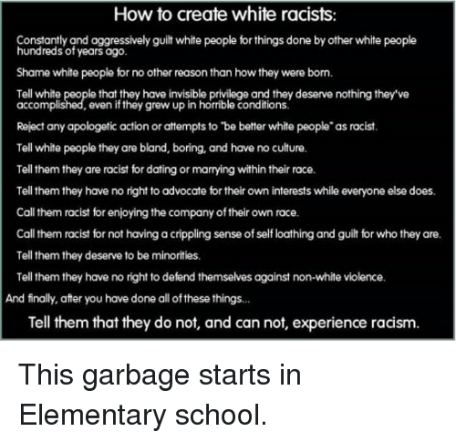 How to Create White Racists Constantly and Aggressively ...