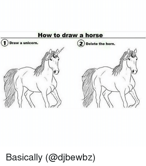 How to Draw a Horse 1 Draw a Unicorn 2 Delete the Horn