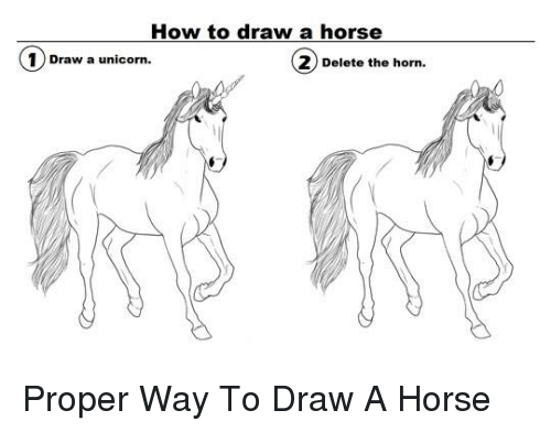 How To Draw A Horse 1 Draw A Unicorn 2 Delete The Horn Proper Way To