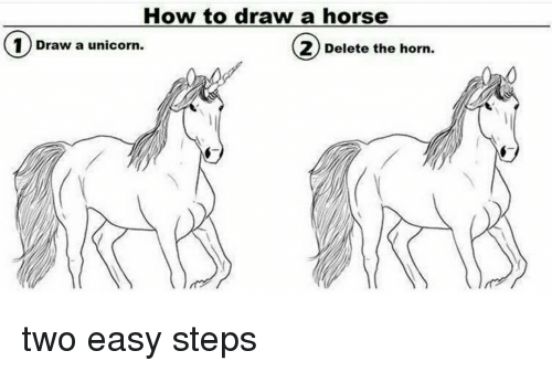 How To Draw A Horse 1 Draw A Unicorn 2 Delete The Horn Two Easy