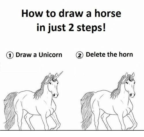 How To Draw A Horse In Just 2 Steps 1 Draw A Unicorn 2 Delete The