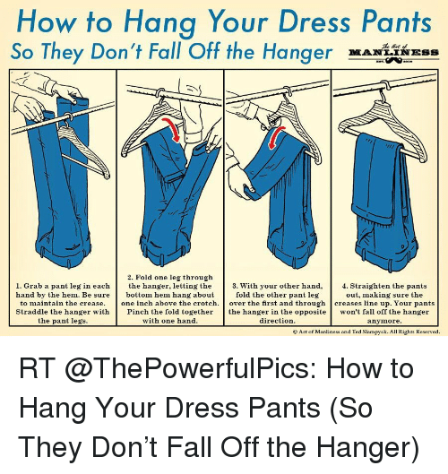How To Hang Your Dress Pants So They Don T Fall Off The Hanger 2