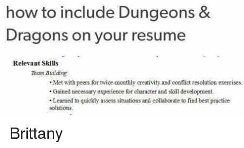 memes best and exercise how to include dungeons dragons on your resume