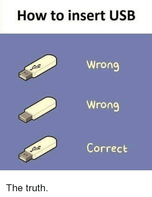 How To, Truth, and How: How to insert USB  Wrong  Wrong  Correct The truth.