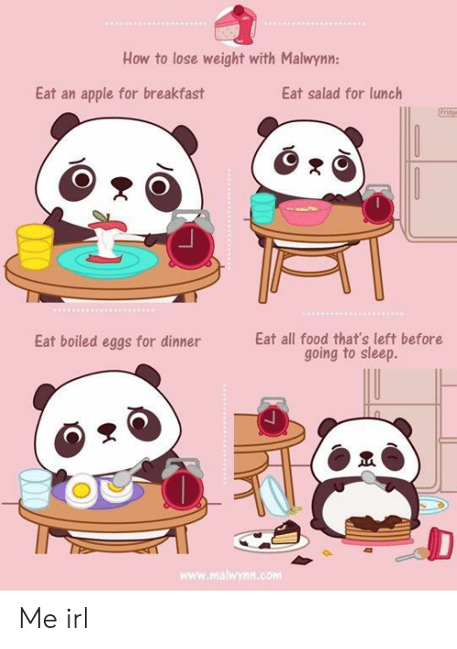 Apple, Food, and Breakfast: How to lose weight with Malwynn:  Eat an apple for breakfast  Eat salad for lunclh  Fridg  Eat boiled eggs for dinner  Eat all food that's left before  going to sleep.  www.malwynn.com Me irl