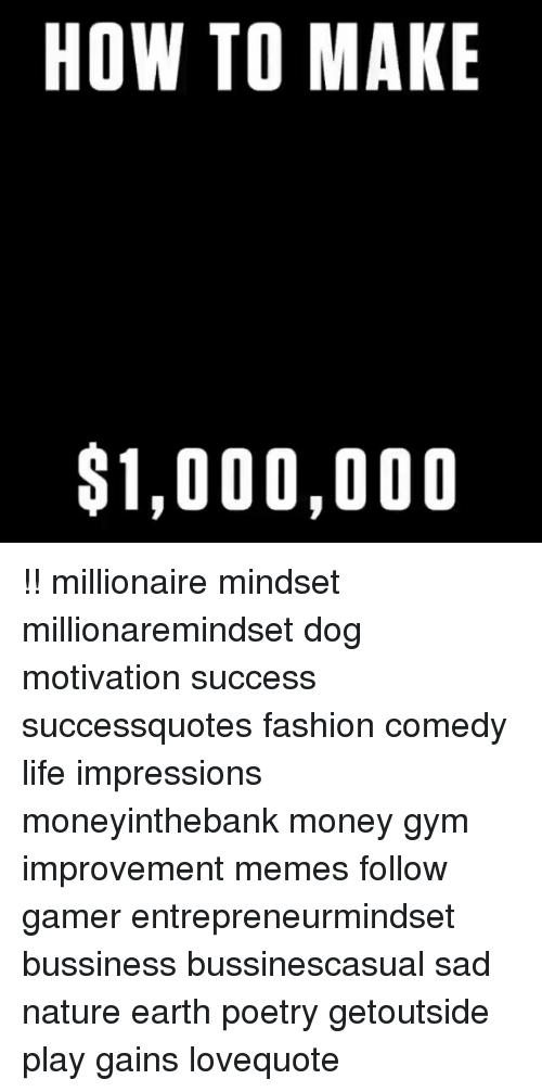 Fashion, Gym, and Life: HOW TO MAKE  $1,000,000 !! millionaire mindset millionaremindset dog motivation success successquotes fashion comedy life impressions moneyinthebank money gym improvement memes follow gamer entrepreneurmindset bussiness bussinescasual sad nature earth poetry getoutside play gains lovequote