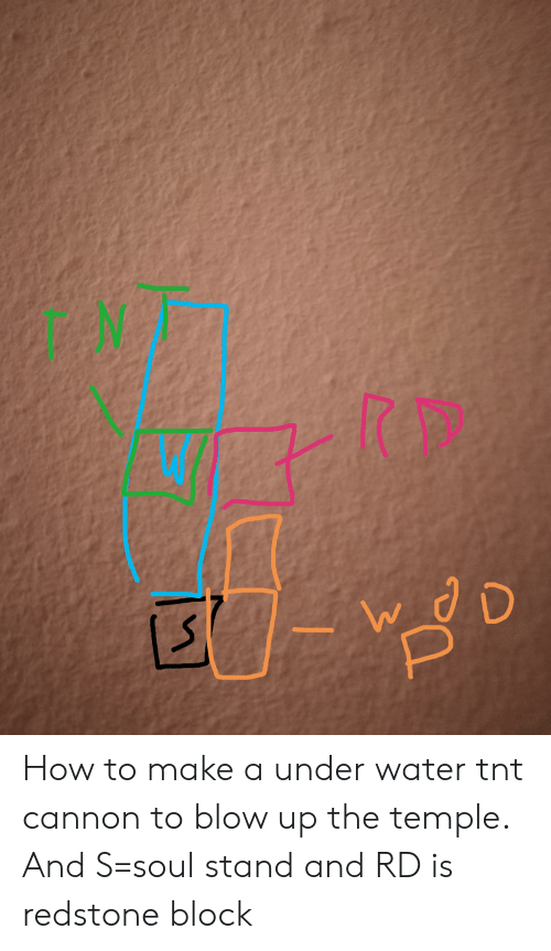 How To, Water, and How: How to make a under water tnt cannon to blow up the temple. And S=soul stand and RD is redstone block