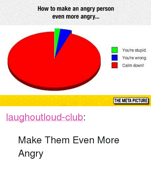 "Club, Tumblr, and Blog: How to make an angry person  even more angry...  You're stupid  You're wrong.  Calm down!  THE META PICTURE <p><a href=""http://laughoutloud-club.tumblr.com/post/166054143881/make-them-even-more-angry"" class=""tumblr_blog"">laughoutloud-club</a>:</p>  <blockquote><p>Make Them Even More Angry</p></blockquote>"
