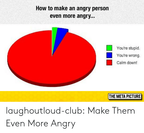 Club, Tumblr, and Blog: How to make an angry person  even more angry...  You're stupid  You're wrong.  Calm down!  THE META PICTURE laughoutloud-club:  Make Them Even More Angry