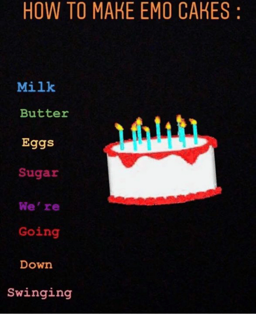 Magnificent How To Make Emo Cakes Milk Butter Eggs Sugar Were Going Down Birthday Cards Printable Nowaargucafe Filternl