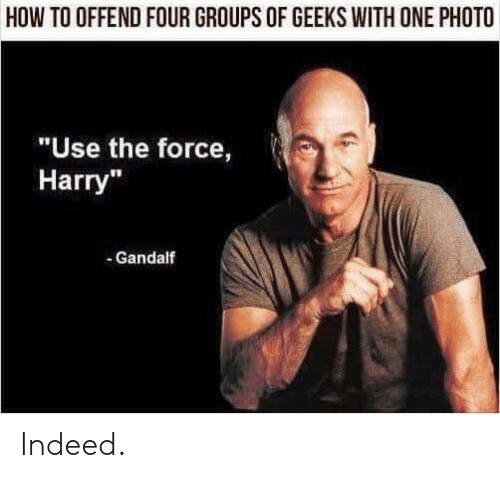 """Gandalf, How To, and Indeed: HOW TO OFFEND FOUR GROUPS OF GEEKS WITH ONE PHOTO  """"Use the force,  Harry""""  - Gandalf Indeed."""