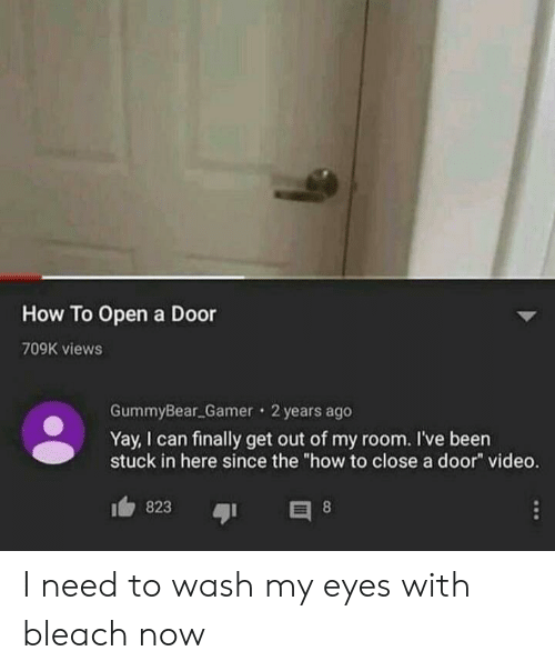 """Reddit, Bleach, and How To: How To Open a Door  709K views  GummyBear Gamer 2 years ago  Yay, I can finally get out of my room. I've been  stuck in here since the """"how to close a door"""" video.  823 I need to wash my eyes with bleach now"""