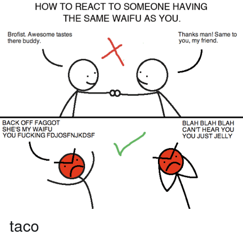 Dank, Friends, and How To: HOW TO REACT TO SOMEONE HAVING  THE SAME WAIFU AS YOU.  Brofist. Awesome tastes  Thanks man! Same to  you, my friend.  there buddy.  BACK OFF FAGGOT  BLAH BLAH BLAH  SHE'S MY WAIFU  CAN'T HEAR YOU  YOU FUCKING FDJOSFN.JKDSF  YOU JUST JELLY taco