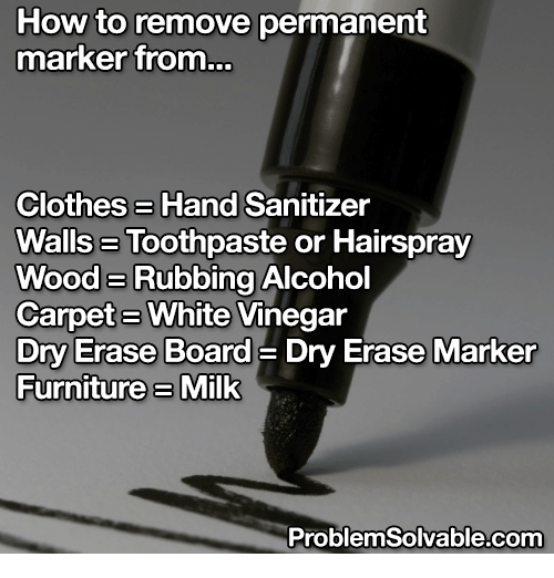 how to remove permanent marker from clotheshand sanitizer wallsa toothpaste or hairspray woode. Black Bedroom Furniture Sets. Home Design Ideas