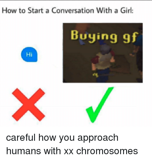 Girl, How To, and How: How to Start a Conversation With a Girl:  Buying gf  Hi <p>careful how you approach humans with xx chromosomes</p>