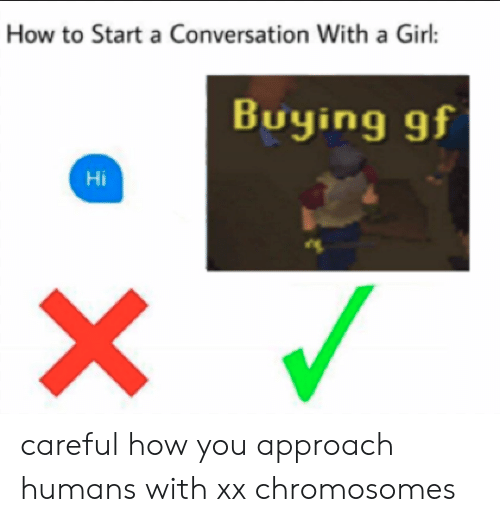 Girl, How To, and How: How to Start a Conversation With a Girl:  Buying gf  Hi careful how you approach humans with xx chromosomes